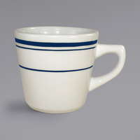 International Tableware CT-1 Catania 7 oz. Ivory (American White) Stoneware Tall Cup with Blue Bands - 36/Case