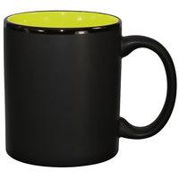 International Tableware 87168-2902/05MF-05C Hilo 11 oz. Rye Green In / Black Out Stoneware C-Handle Mug - 12/Case