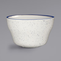 International Tableware DA-4 Danube 8.5 oz. Ivory (American White) Blue Speckled Stoneware Bouillon with Blue Bands - 36/Case