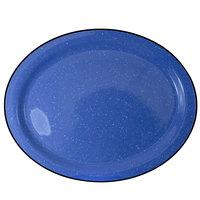 International Tableware CFN-13 Campfire 11 1/2 inch x 9 1/4 inch Speckle Ocean Blue Narrow Rim Stoneware Platter - 12/Case