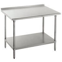 Advance Tabco FMS-244 24 inch x 48 inch 16 Gauge Stainless Steel Commercial Work Table with Undershelf and 1 1/2 inch Backsplash