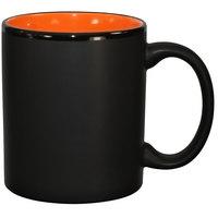 International Tableware 87168-2956/05MF-05C Hilo 11 oz. Orange In / Black Out Stoneware C-Handle Mug - 12/Case