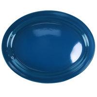 International Tableware CAN-13-LB Cancun 11 3/4 inch x 9 1/4 inch Light Blue Stoneware Narrow Rim Platter - 12/Case