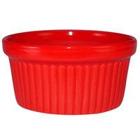 International Tableware RAMF-4-CR Cancun 4 oz. Crimson Red Stoneware Fluted Ramekin - 36/Case