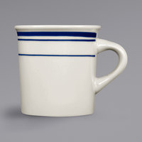 International Tableware CT-38 Catania 9 oz. Ivory (American White) Stoneware Canton Mug with Blue Bands - 36/Case