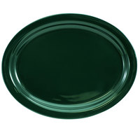 International Tableware CAN-14-G Cancun 13 1/4 inch x 10 3/8 inch Green Stoneware Narrow Rim Platter - 12/Case