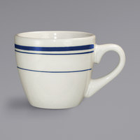 International Tableware CT-35 Catania 3.5 oz. Ivory (American White) Stoneware A.D. Espresso Cup with Blue Bands - 36/Case