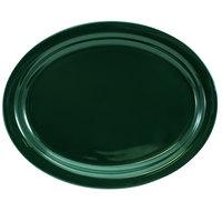International Tableware CAN-12-G Cancun 9 3/4 inch x 7 1/2 inch Green Stoneware Narrow Rim Platter - 24/Case