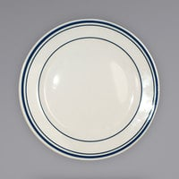 International Tableware CT-6 Catania 6 5/8 inch Ivory (American White) Stoneware Plate with Blue Bands - 36/Case