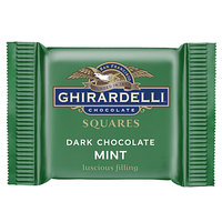 Ghirardelli Individually-Wrapped Dark Chocolate Mint Squares - 430/Case
