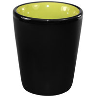 International Tableware 81122-2902/05MF-05C Hilo 2 oz. Rye Green In / Black Out Stoneware Shot Glass - 24/Case