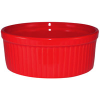 International Tableware RAMF-8-R Cancun 6 oz. Crimson Red Stoneware Fluted Souffle / Ramekin - 36/Case