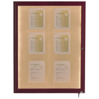 Aarco LWL4836C 48 inch x 36 inch Cherry Finish Lighted Bulletin Board Cabinet