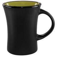 International Tableware 83570-2902/05MF-05C Hilo 11 oz. Rye Green In / Black Out Stoneware Venturi Flared Mug - 12/Case