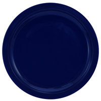 International Tableware CAN-16-CB Cancun 10 5/8 inch Cobalt Blue Stoneware Rolled Edge Narrow Rim Plate - 12/Case