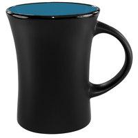 International Tableware 83570-2903/05MF-05C Hilo 11 oz. Sky Blue In / Black Out Stoneware Venturi Flared Mug - 12/Case