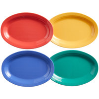 Elite Global Solutions B106OV-MIX Brazil 10 inch x 6 3/4 inch Assorted Colors Oval Melamine Platter - 12/Case