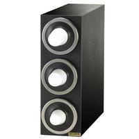San Jamar C2903 EZ-Fit Black 3-Slot 8 - 46 oz. Cup Dispenser Cabinet with Metal Finish Trim Ring