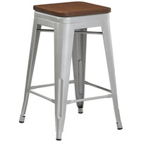 Lancaster Table & Seating Alloy Series Silver Metal Indoor Industrial Cafe Counter Height Stool with Walnut Wood Seat