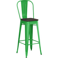 Lancaster Table & Seating Alloy Series Green Metal Indoor Industrial Cafe Bar Height Stool with Vertical Slat Back and Black Wood Seat