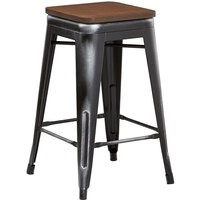 Lancaster Table & Seating Alloy Series Distressed Black Metal Indoor Industrial Cafe Counter Height Stool with Walnut Wood Seat