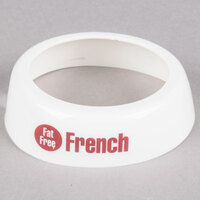 Tablecraft CM19 Imprinted White Plastic Fat Free Salad Dressing Dispenser Collar with Maroon Lettering