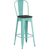Lancaster Table & Seating Alloy Series Seafoam Metal Indoor Industrial Cafe Bar Height Stool with Vertical Slat Back and Black Wood Seat