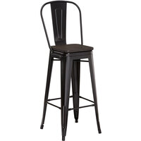 Lancaster Table & Seating Alloy Series Black Metal Indoor Industrial Cafe Bar Height Stool with Vertical Slat Back and Black Wood Seat
