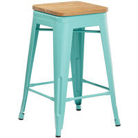 Lancaster Table & Seating Alloy Series Seafoam Metal Indoor Industrial Cafe Counter Height Stool with Natural Wood Seat