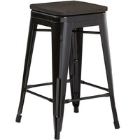 Lancaster Table & Seating Alloy Series Black Metal Indoor Industrial Cafe Counter Height Stool with Black Wood Seat