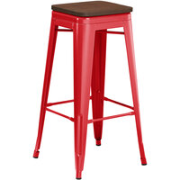 Lancaster Table & Seating Alloy Series Red Metal Indoor Industrial Cafe Bar Height Stool with Walnut Wood Seat