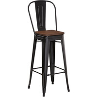 Lancaster Table & Seating Alloy Series Black Metal Indoor Industrial Cafe Bar Height Stool with Vertical Slat Back and Walnut Wood Seat