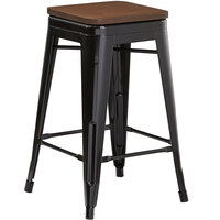 Lancaster Table & Seating Alloy Series Black Metal Indoor Industrial Cafe Counter Height Stool with Walnut Wood Seat