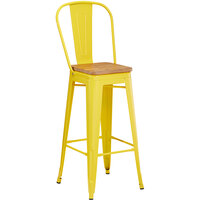 Lancaster Table & Seating Alloy Series Yellow Metal Indoor Industrial Cafe Bar Height Stool with Vertical Slat Back and Natural Wood Seat