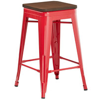 Lancaster Table & Seating Alloy Series Red Metal Indoor Industrial Cafe Counter Height Stool with Walnut Wood Seat