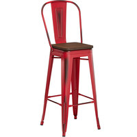 Lancaster Table & Seating Alloy Series Distressed Red Metal Indoor Industrial Cafe Bar Height Stool with Vertical Slat Back and Walnut Wood Seat