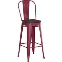 Lancaster Table & Seating Alloy Series Sangria Metal Indoor Industrial Cafe Bar Height Stool with Vertical Slat Back and Black Wood Seat