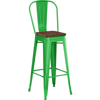 Lancaster Table & Seating Alloy Series Green Metal Indoor Industrial Cafe Bar Height Stool with Vertical Slat Back and Walnut Wood Seat