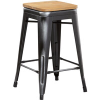 Lancaster Table & Seating Alloy Series Distressed Black Metal Indoor Industrial Cafe Counter Height Stool with Natural Wood Seat