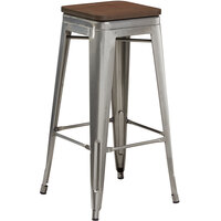 Lancaster Table & Seating Alloy Series Clear Coated Metal Indoor Industrial Cafe Bar Height Stool with Walnut Wood Seat
