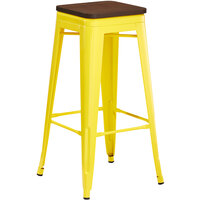 Lancaster Table & Seating Alloy Series Yellow Metal Indoor Industrial Cafe Bar Height Stool with Walnut Wood Seat