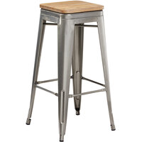 Lancaster Table & Seating Alloy Series Clear Coated Metal Indoor Industrial Cafe Bar Height Stool with Natural Wood Seat