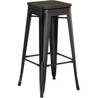 Lancaster Table & Seating Alloy Series Black Metal Indoor Industrial Cafe Bar Height Stool with Black Wood Seat