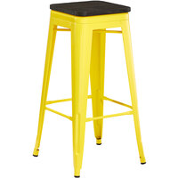 Lancaster Table & Seating Alloy Series Yellow Metal Indoor Industrial Cafe Bar Height Stool with Black Wood Seat
