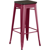 Lancaster Table & Seating Alloy Series Sangria Metal Indoor Industrial Cafe Bar Height Stool with Black Wood Seat