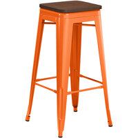 Lancaster Table & Seating Alloy Series Orange Metal Indoor Industrial Cafe Bar Height Stool with Walnut Wood Seat