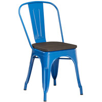 Lancaster Table & Seating Alloy Series Blue Metal Indoor Industrial Cafe Chair with Vertical Slat Back and Black Wood Seat