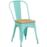 Lancaster Table & Seating Alloy Series Seafoam Metal Indoor Industrial Cafe Chair with Vertical Slat Back and Natural Wood Seat