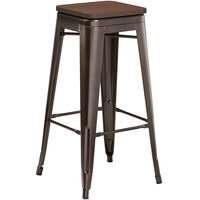 Lancaster Table & Seating Alloy Series Copper Metal Indoor Industrial Cafe Bar Height Stool with Walnut Wood Seat