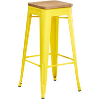 Lancaster Table & Seating Alloy Series Yellow Metal Indoor Industrial Cafe Bar Height Stool with Natural Wood Seat